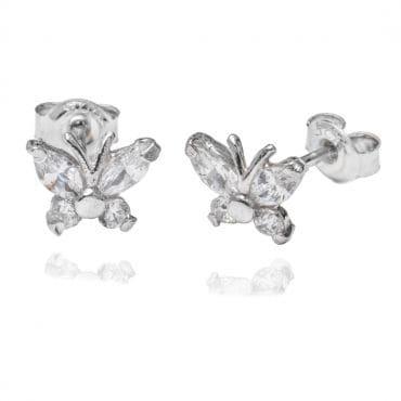 Srebrne kolczyki motylki z cyrkonią