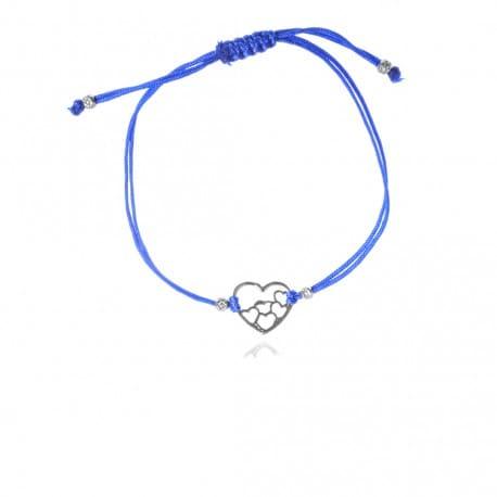 Bransoletka srebrna sznurek serce