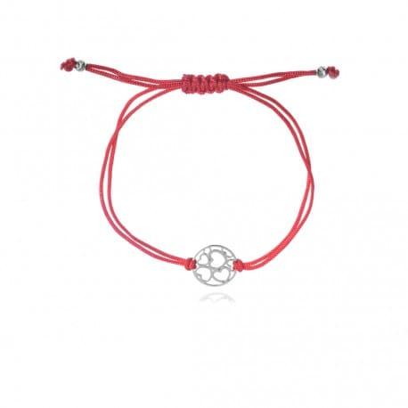 Bransoletka srebrna sznurek kółeczko z seduszkami