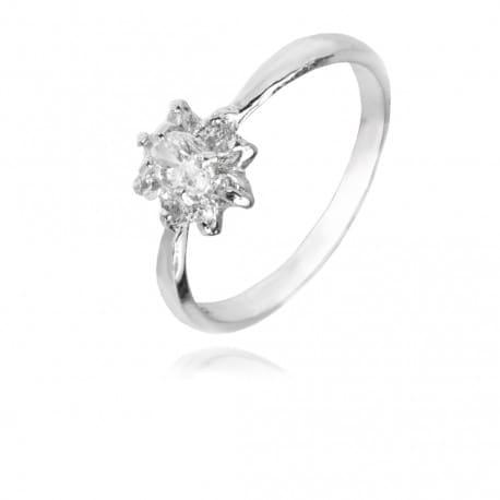Srebrny pierścionek z cyrkonią kwiat