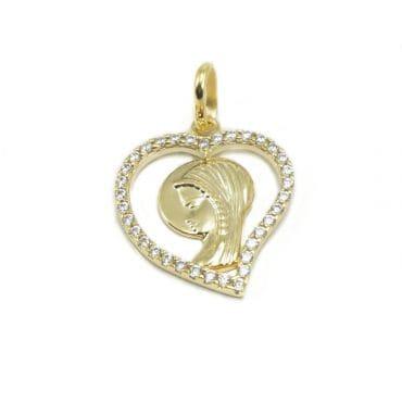 Medalik Matka Boska z łańcuszkiem złoto 333