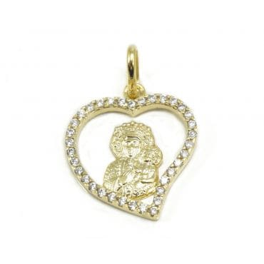 Medalik Matka Boska z cyrkoniami złoto 333