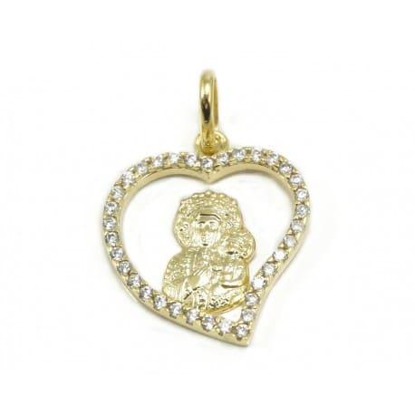 Medalik Matka Boska w Serduszku z łańcuszkiem złoto 333