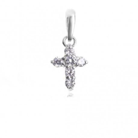 Krzyżyk srebrny wysadzany cyrkoniami