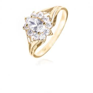 Złoty pierścionek z cyrkoniami Kwiat