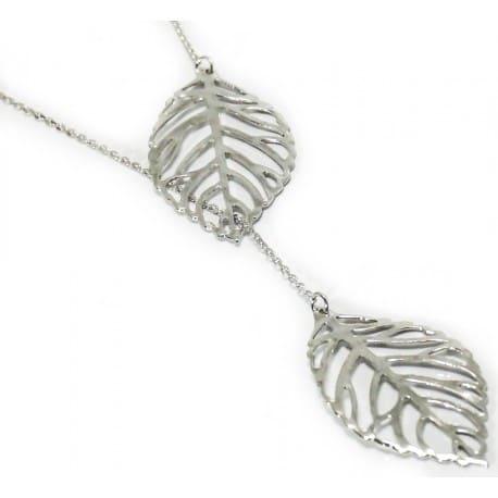 Celebrytka srebrna - krawat piękne liście