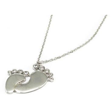 Celebrytka srebrna - stópki z kryształkami
