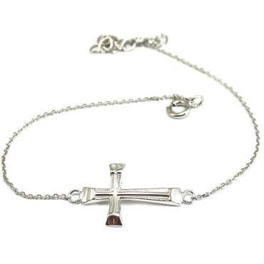 Bransoletka srebrna - krzyżyk
