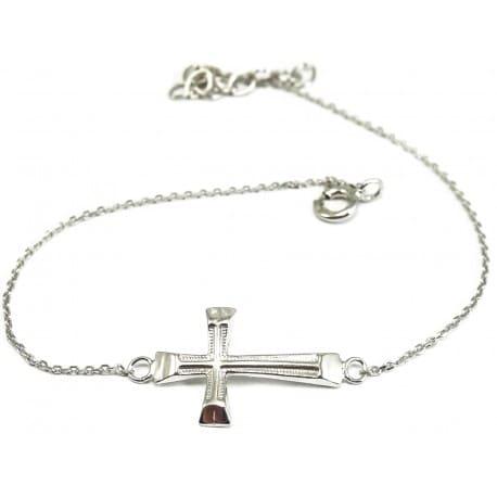 Bransoletka srebrna - krzyżyk z cyrkonią