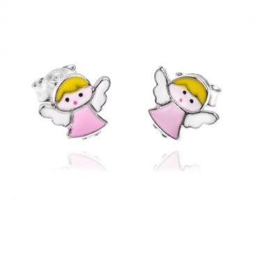 Srebrne kolczyki dziecięce- aniołki