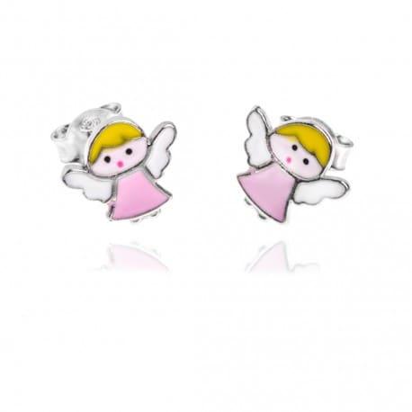 Srebrne kolczyki dziecięce aniołki