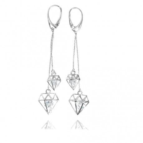 Długie kolczyki diamenty