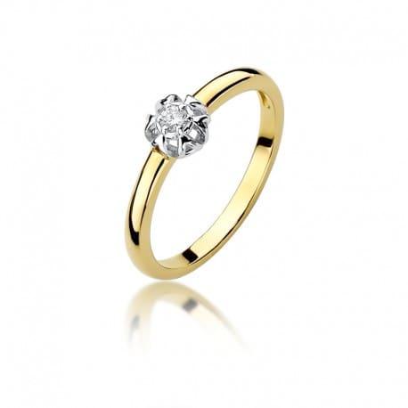 Złoty pierścionek z brylantem 0,06 ct
