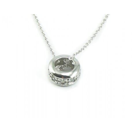 Naszyjnik srebrny rodowany - kółeczko z cyrkoniami