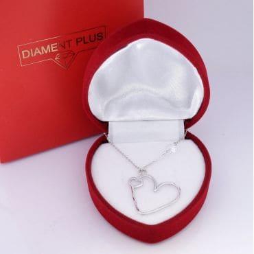 Srebrny naszyjnik serce z kryształkiem
