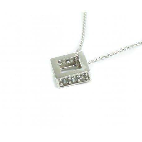 Naszyjnik srebrny rodowany - kwadracik z cyrkoniami
