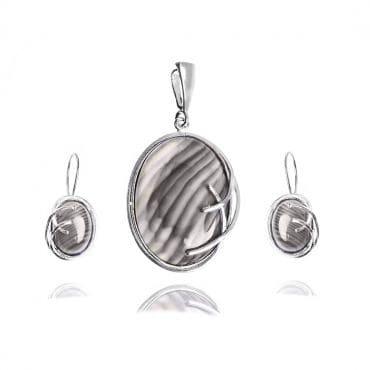 Srebrny komplet Kamień pasiasty