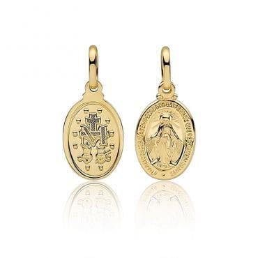 Medalik Cudowny Chrzest Komunia złoto 585