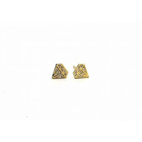 Złote kolczyki DIAMENTY z cyrkoniami