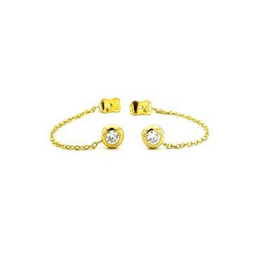 Złote kolczyki z łańcuszkiem