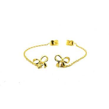 Złote kolczyki kokardki z łańcuszkiem