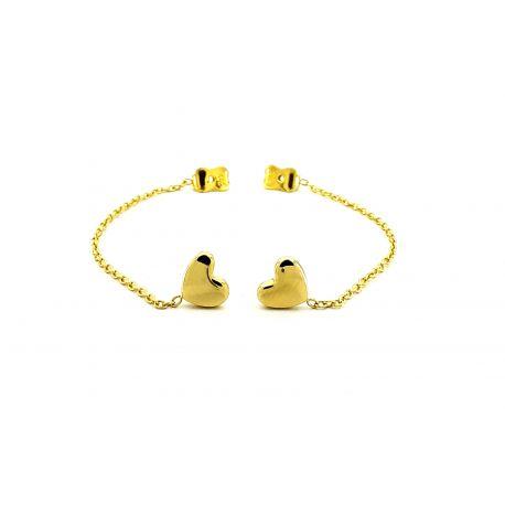 Złote kolczyki serce z łańcuszkiem