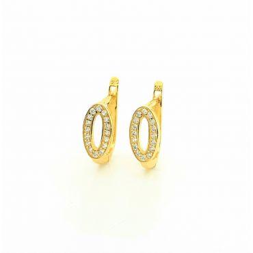 Złote kolczyki owal z cyrkoniami
