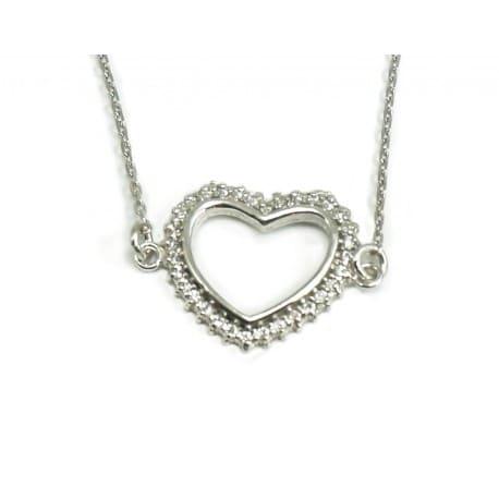 Bransoletka srebro rodowane - serce z cyrkoniami