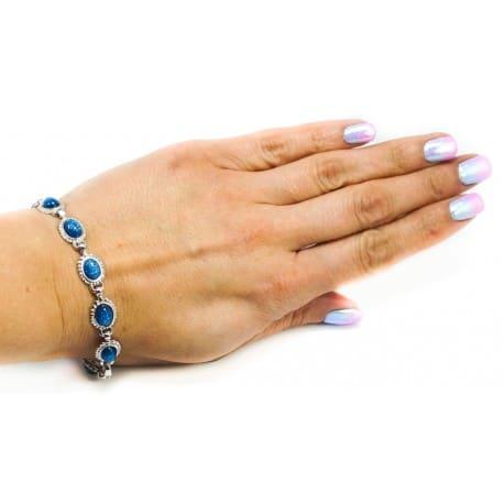 Bransoletka srebrna z niebieskim lśniącym kamieniem księżycowym