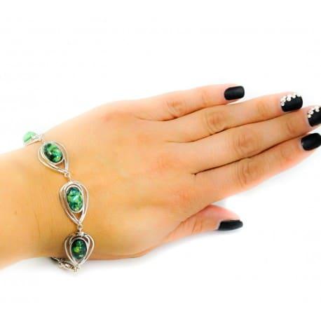 Bransoletka srebrna z zielonym opalem