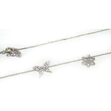Celebrytka srebrna - ażurowy motyl z kwiatkiem