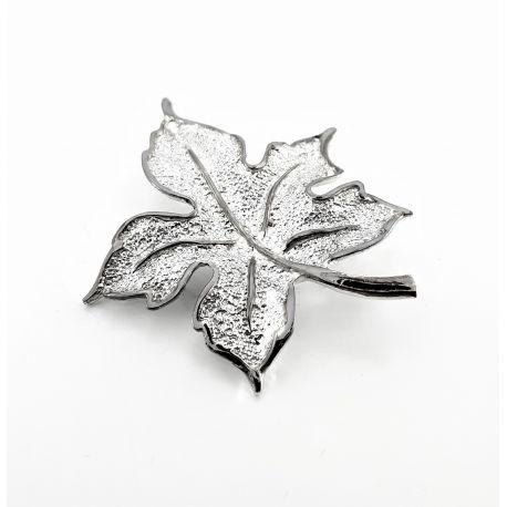 Przepiękna srebrna broszka LIŚĆ