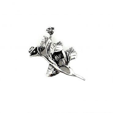 Piękna srebrna broszka RÓŻE