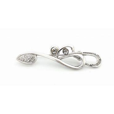 Piękna srebrna broszka z cyrkoniami