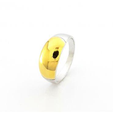 Srebrny pierścionek ze złoceniem