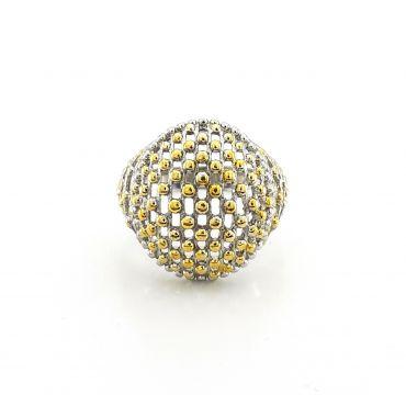 Srebrny pierścionek dwukolorowy kopuła
