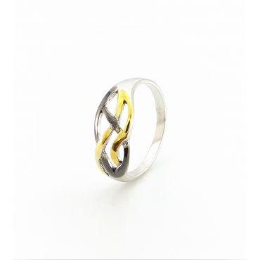 Srebrny pierścionek trzykolorowy