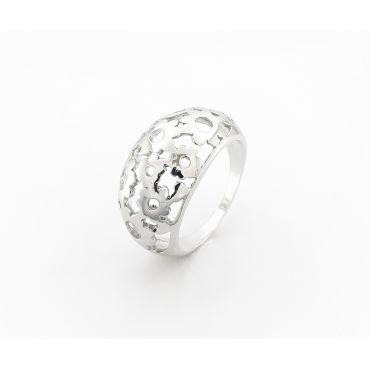 Srebrny pierścionek kopuła w kwiaty