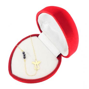 Złota celebrytka 585 ANIOŁ z kryształami