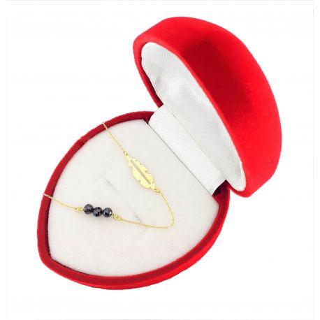 Złota celebrytka 585 piórko z kryształami