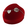 Piękna srebrna bransoletka serce i ażurowe koło
