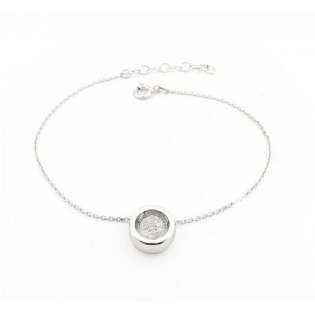 Bransoletka srebrna krązek z kryształkiem
