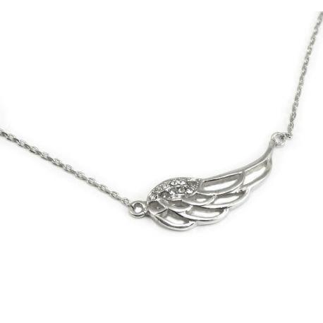 Bransoletka srebrna - skrzydło Anioła z kryształami
