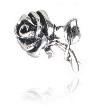 Przepiękna srebrna broszka w kształcie RÓŻY