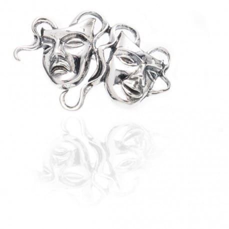 Przepiękna srebrna broszka MASKI