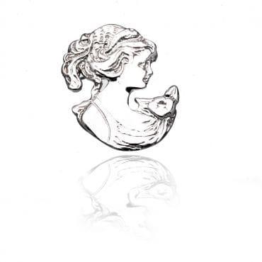 Przepiękna srebrna broszka CAMEA