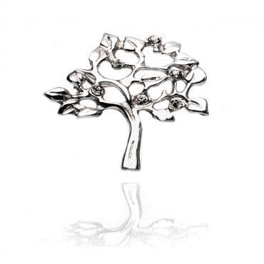 Piękna srebrna broszka DRZEWKO SZCZĘŚCIA z cyrkoniami