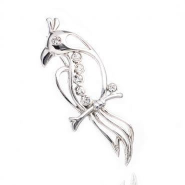 Piękna srebrna broszka PTAK z cyrkoniami