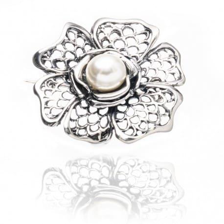 Piękna srebrna broszka KWIAT z perłą