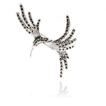 Piękna srebrna broszka KOLIBER z markazytami